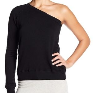 * Pam & Gela One-Shoulder Black Sweatshirt